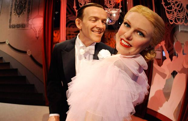 Waxworks of actors Fred Astaire and Ginger Rogers are on display at the opening of Madame Tussauds Hollywood in Los Angeles