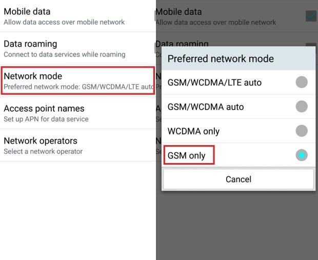 Uključena opcija rada telefona na GSM mreži