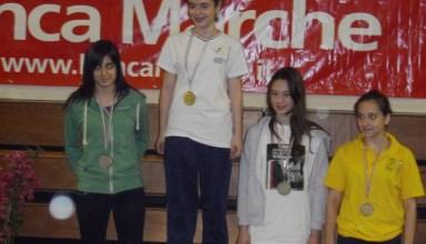 Sara, prima da sinistra, sul secondo gradino del podio