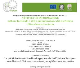 Locandina seminario Rossiglione 5 ottobre 2013