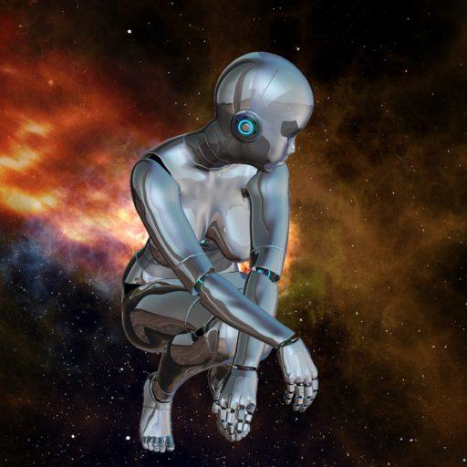 female robot in galaxy