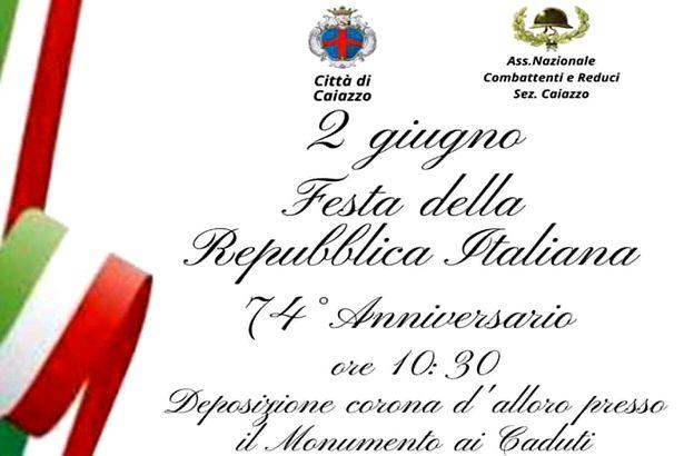 Caiazzo. Festa della Repubblica martedì 2 giugno al Monumento con serto, inno… e mascherine