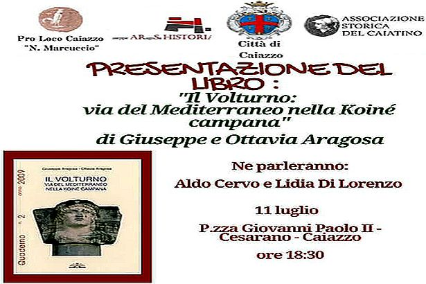 Caiazzo. 'Volturno: via del Mediterraneo nella Koinè campana': sabato presentazione del libro