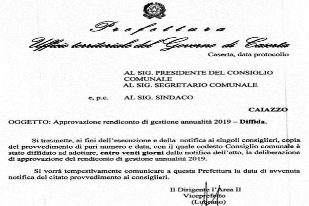 Caiazzo. Comune, rendiconto non approvato: scioglimento preavvisatoper Giaquinto & Co.