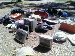 I rifiuti trovati durante la pulizia del parco degli Eucaliptus.