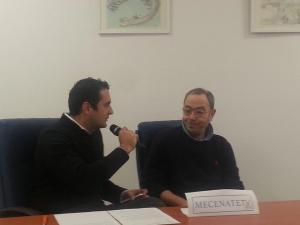 Luca Grossi e Antonio Parisi durante la conferenza stampa a Mecenate Tv