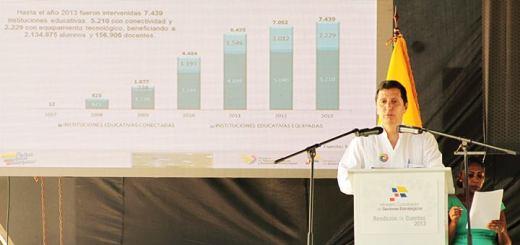 El Ministro de Telecomunicaciones y Sociedad de la Información, Jaime Guerrero Ruiz, durante la presentación de la Rendición de Cuentas 2013. Imagen: Mintel