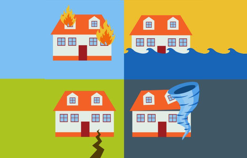 Ilustração de desastres naturais com casas com incêndio, terremoto, alagamento e furacão