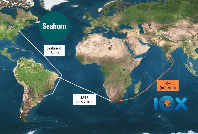 A rota do cabo SABR liga Brasil à África do Sul. De la, se une ao IOX System, que vai para Ilhas Maurício e Índia.