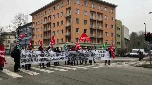 Sciopero della sanità privata: presidio in viale Cavour