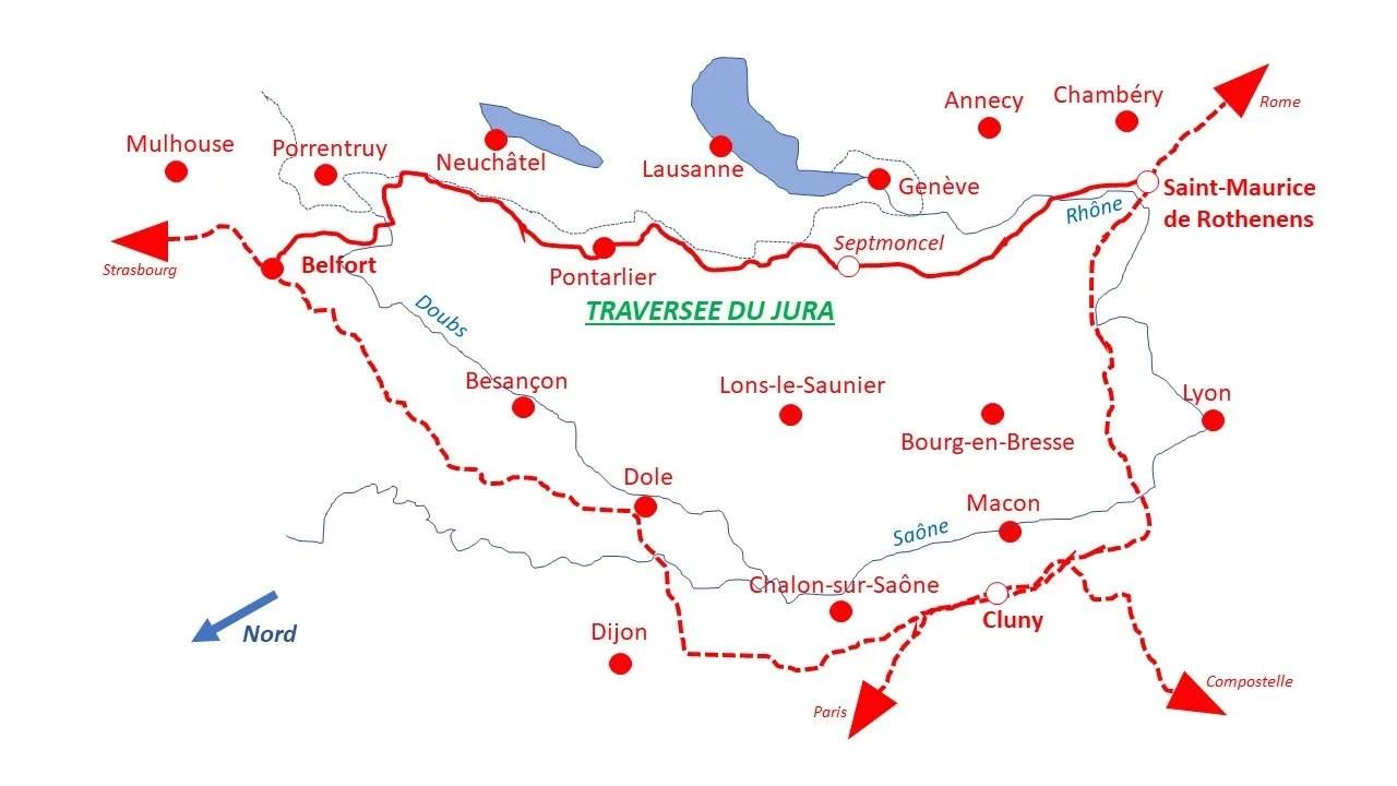 Carte Traversée du Jura