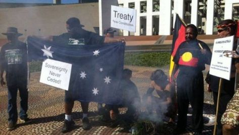 A protest outside the parliament house in Canberra. From left to right: uncle Paul Paul Spearim, Boe Knows, Laurence Coghlan, Kumba Coombes, Graham Merritt, Lara Pullin. (activists)