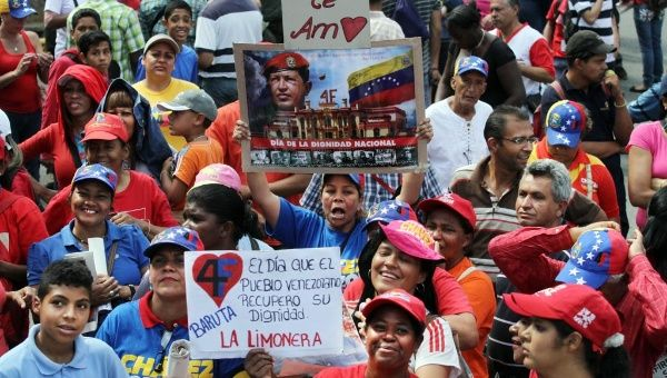 Young Venezuelans march for peace in Caracas.