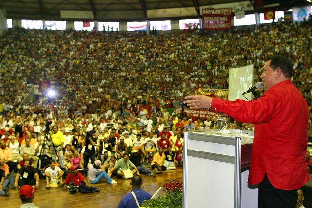 Chavez addressing thousands at the World Social Forum in Gigantinho Stadium in Porto Alegre in 2005. Venezuela was also the host of the World Social Forum the following year.