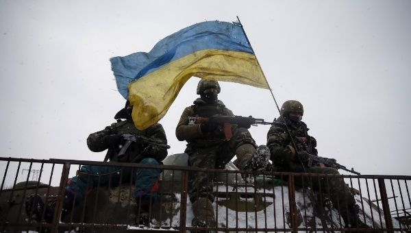 Ukrainian soldiers near Debaltseve, east Ukraine