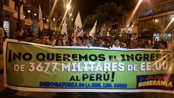 A march protesting U.S. troops in Peru earlier this year.