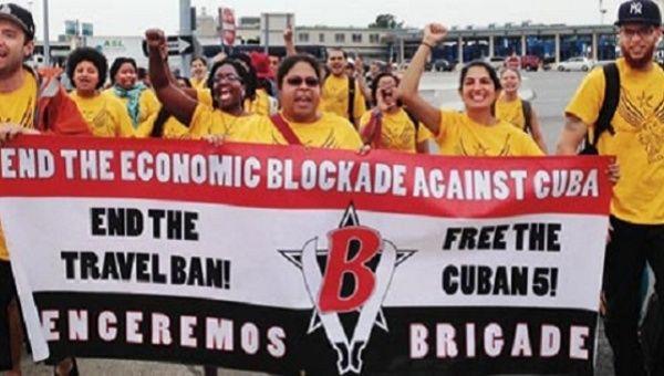 Venceremos Brigadistas in the U.S. Call for an End to the U.S. Blockade Against Cuba.