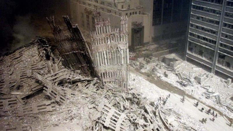 The ruins of the Twin Towers are seen after the terrorist attack in New York.