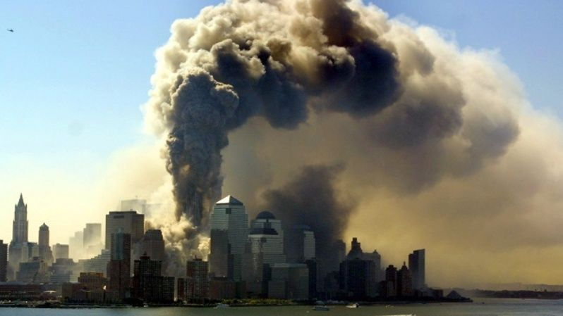 Smoke billows from the World Trade Center in New York, Sept. 11, 2001, after the towers collapsed.