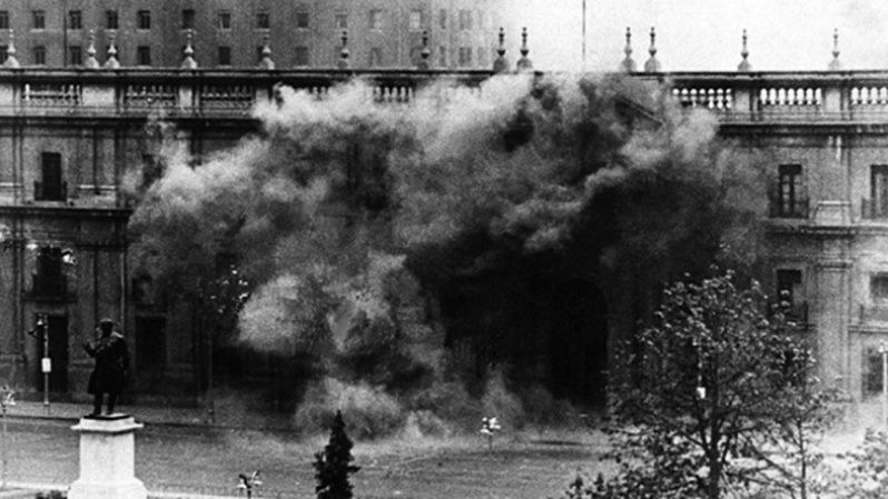 The Chilean presidential palace La Moneda under fire during the coup on Sept. 11, 1973.