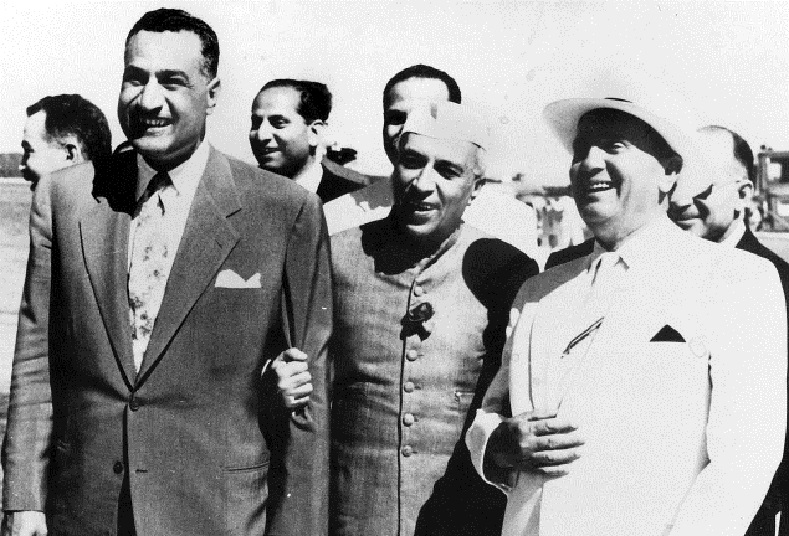 Prime Minister Nehru with President Gamal Abdel Nasser (L) of Egypt and Marshal Josip Broz Tito of Yugoslavia. They were instrumental in the founding of the Non-Aligned Movement.