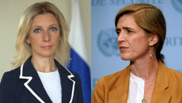 Maria Zakharova (left) and Samantha Power (right).