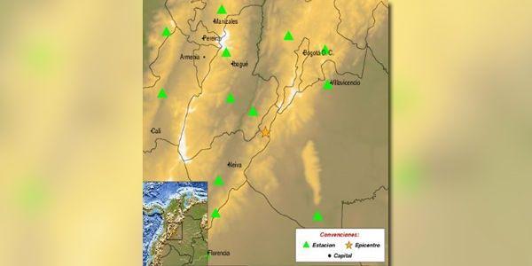 El epicentro del sismo se registró a las 19:20 hora local cerca del municipio de Colombia, en el departamento del Huila, en el suroeste del país, a una profundidad menor a 30 kilómetros.