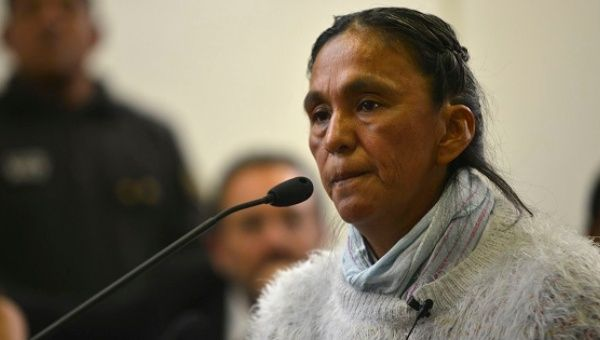 Jailed leader Milagro Sala attends a hearing in Jujuy, Dec. 28, 2016.