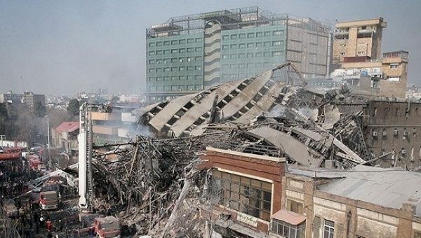 A collapsed building is seen in Tehran, Iran.