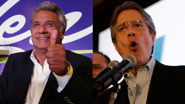 Lenín Moreno (i) encabeza los resultados preliminares para la presidencia de Ecuador, mientras que Guillermo Lasso (d) va en segundo lugar.