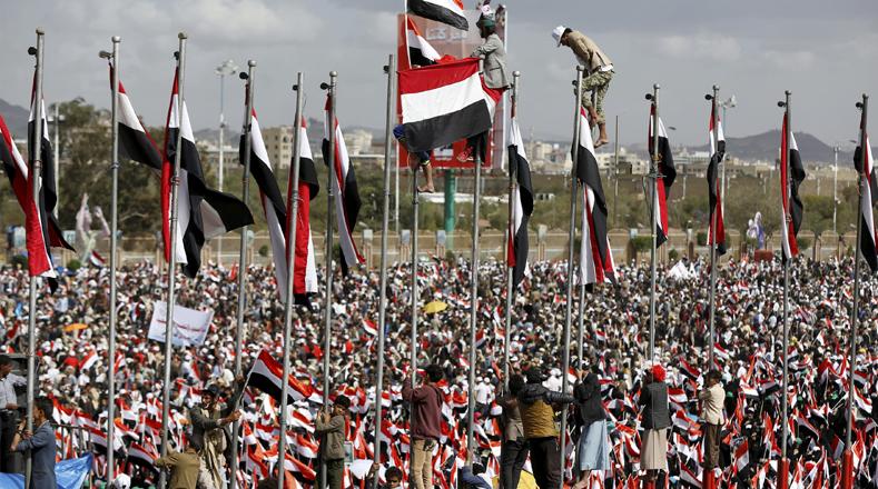 Miles de yemeníes salieron a las calles este domingo en contra de la intervención saudí en el país.