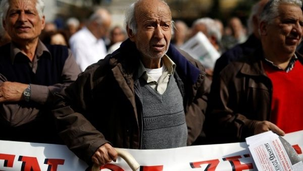Greek pensioners take part in a demonstration against planned pension cuts in Athens, Greece April 4, 2017.