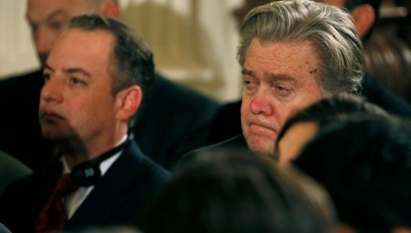White House Chief of Staff Reince Priebus (L) and Chief Strategist Stephen Bannon.