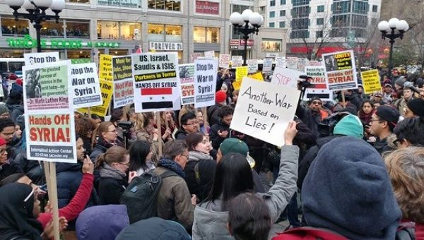 """Hands Off Syria"" protest in New York City."