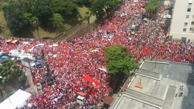 An aerial view shows streets filled with demonstrators supporting the government of President Nicolas Maduro.