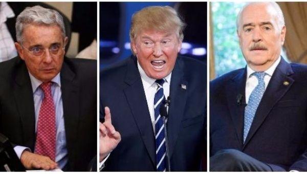 Alvaro Uribe (L), Donald Trump (C), Andres Pastrana (R).