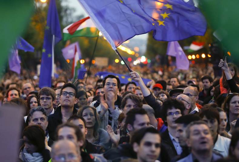 "People attend a pro-European Union rally called by the opposition group ""Momentum"" in Budapest, Hungary, May 1, 2017"