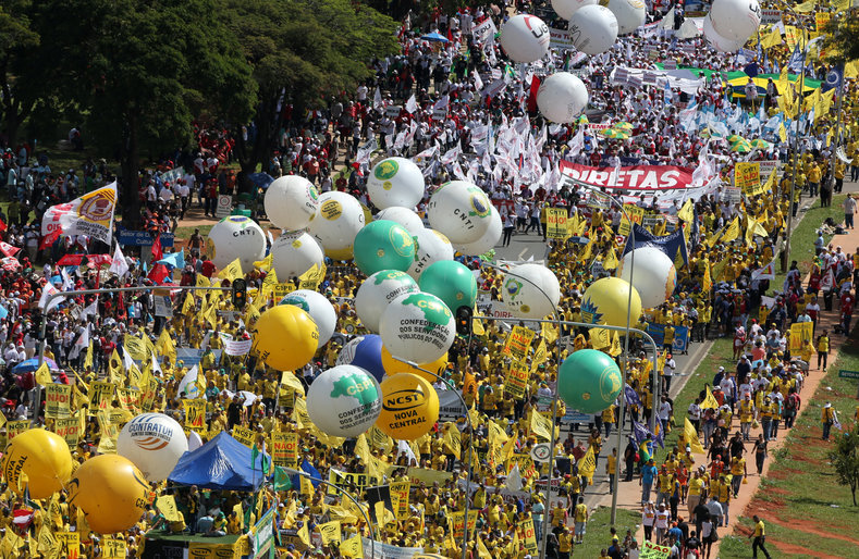 The march was called by leftist parties, unions and other groups demanding the resignation of Temer and that his austerity measures before lawmakers be shelved.