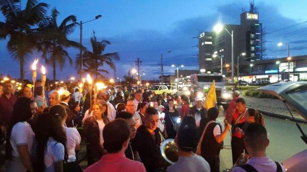 Marcha de las antorchas celebrada por docentes colombianos en mayo pasado.