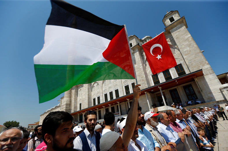 Demonstrators take part in a protest marking the annual al-Quds Day, or Jerusalem Day, at the courtyard of Fatih mosque in Istanbul, Turkey June 23, 2017.