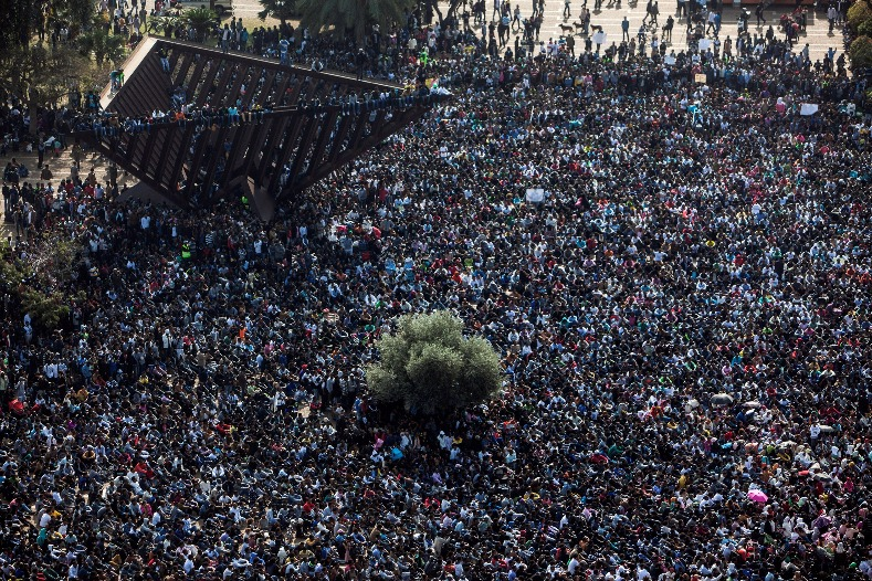 African migrants attend a protest at Rabin Square in Tel Aviv, Israel January 5, 2014.