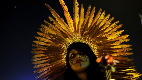 A Guarani Indian woman takes part in a protest by black and indigenous women against racism and machismo in Sao Paulo, Brazil, July 25, 2017.