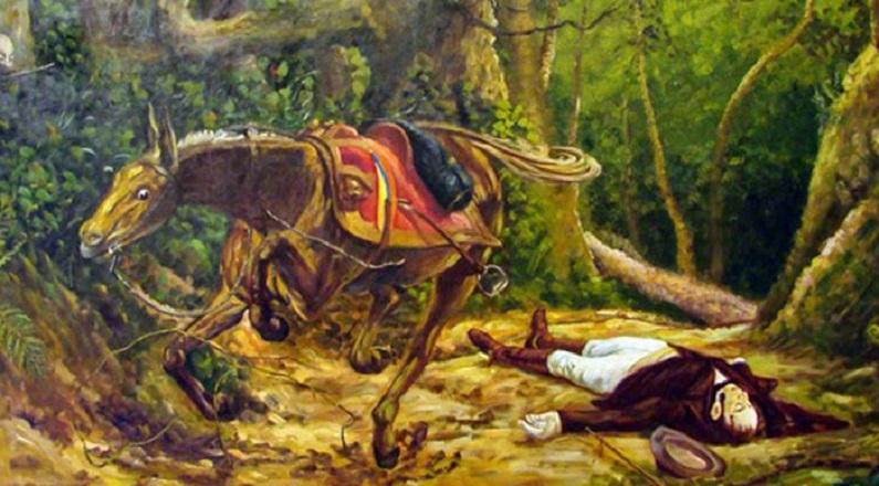 Michelena profundamente interesado por mostrar su visión de algunos acontecimiento importantes, creó en 1895 el lienzo del crimen del Gran Mariscal Antonio José de Sucre en Berruecos, a quien señalaban como heredero de Simón Bolívar.