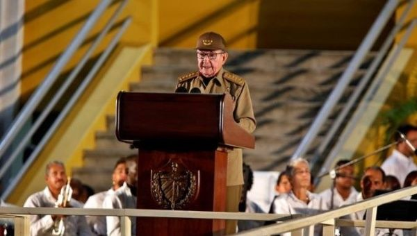 Raul Castro speaks on the occasion of the 65th anniversary of the assault on the Moncada barracks.