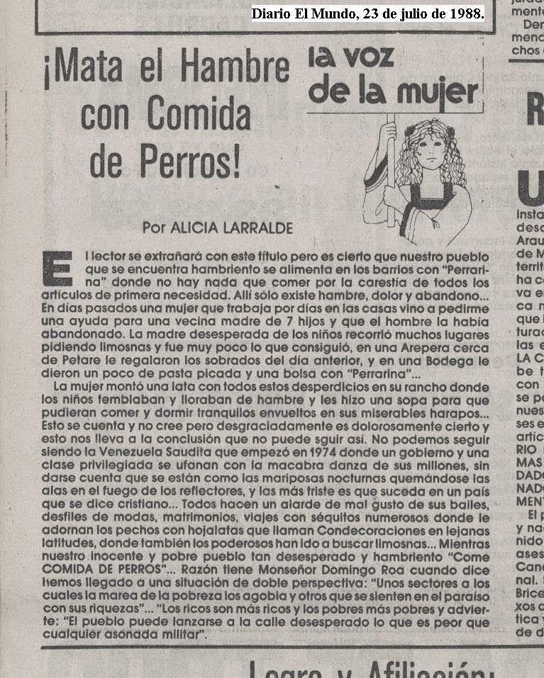 ¡Mata el Hambre con Comida de Perros!, Alicia Larralde. (EL Mundo, 23 de julio de 1988, pág. 4
