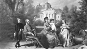 Ferenc József feleségével és gyerekeivel Gödöllőn