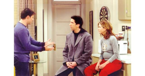 Hoodie + Wool Coat Combo | 11 Outfits From Friends That Prove Ross Is the Fashion Guy You Didn't See Coming | POPSUGAR Fashion Photo 12