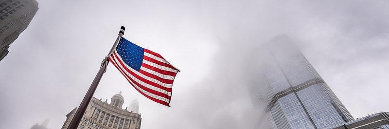 American flag on a tall pole
