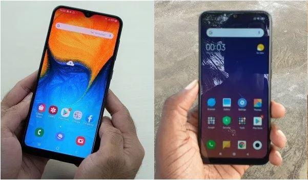 Samsung Galaxy A20 vs Redmi Note 7 comparison. Photo of Galaxy A20 sourced from MySmartPrice