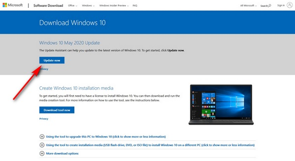 Download From Microsoft Website